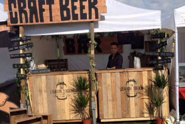 Mobile wedding bar from the Libation Station as featured on the National Vintage Wedding Fair blog