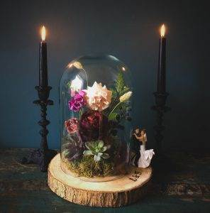 A dark, moody wedding shoot with a painted leather jacket