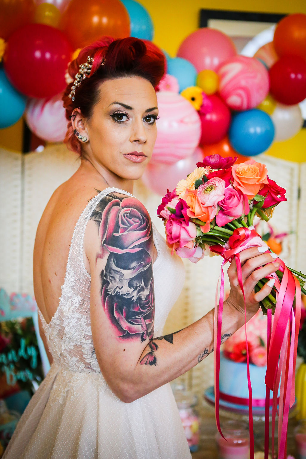 Rainbow Wedding Inspiration with Epic Balloon Trees and Hot Air Balloon