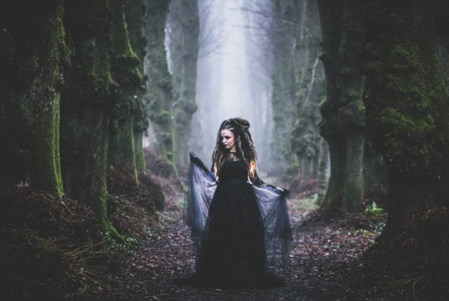 Goth Wedding Inspiration With Black Wedding Dress and Veil