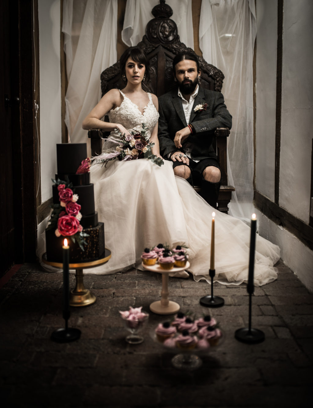 Classic Rock Wedding with Black Wedding Cake and Alternative Groom Style
