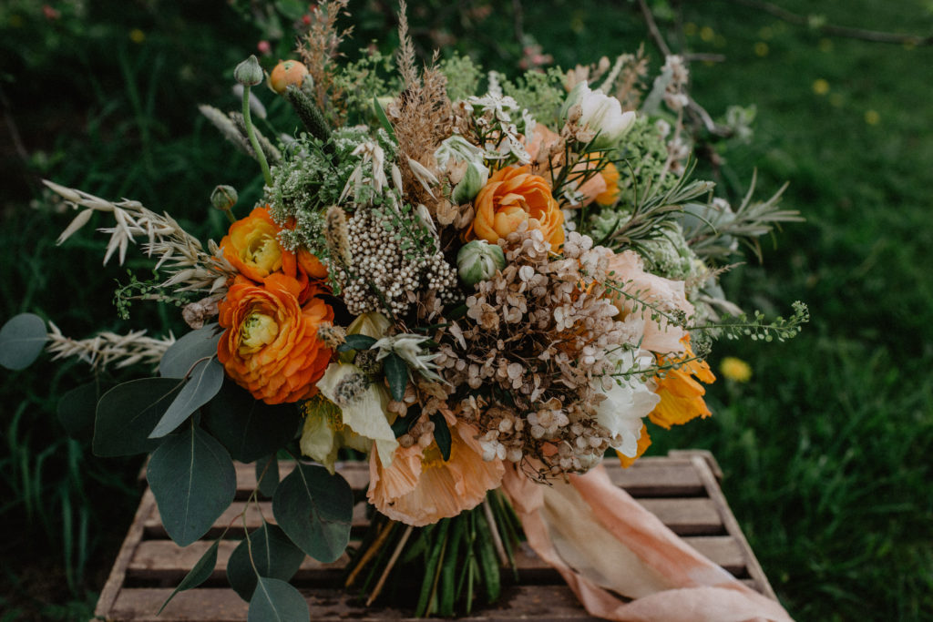 Ethical home grown wedding bouquet