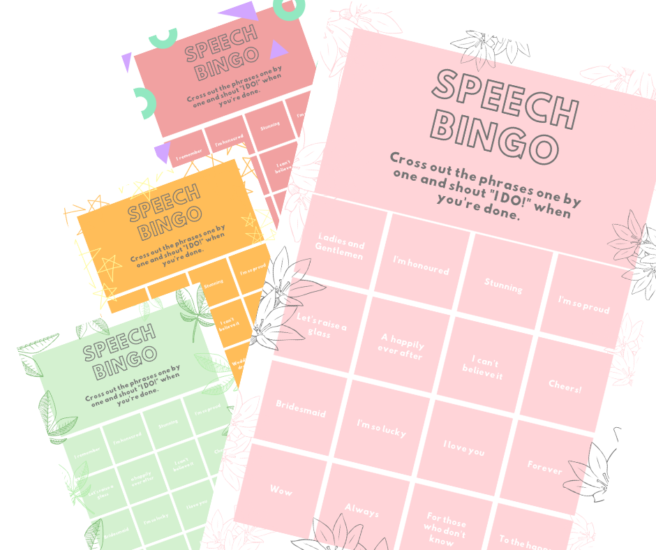Liven up your wedding speeches with our free Speech Bingo printable