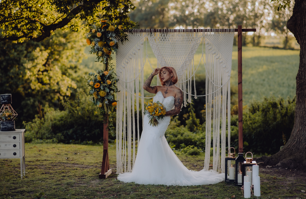 Lemon Yellow Wedding With Tattooed Bride and Black Wedding Cake