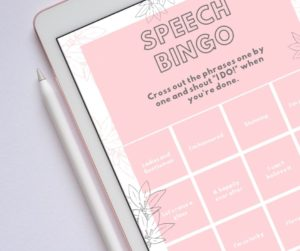 Speech Bingo Printable by Magpie Wedding