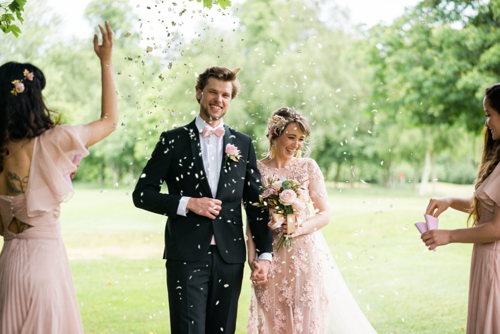 Romantic Modern Wedding With Pretty Styling and A Pink Wedding Dress