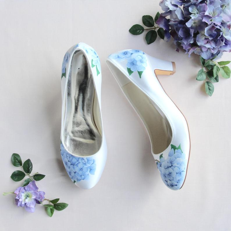 Blue Wedding hand painted shoes