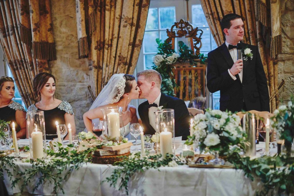Traditional Irish Wedding with Black Tie Suits and A Navy and Gold Cake