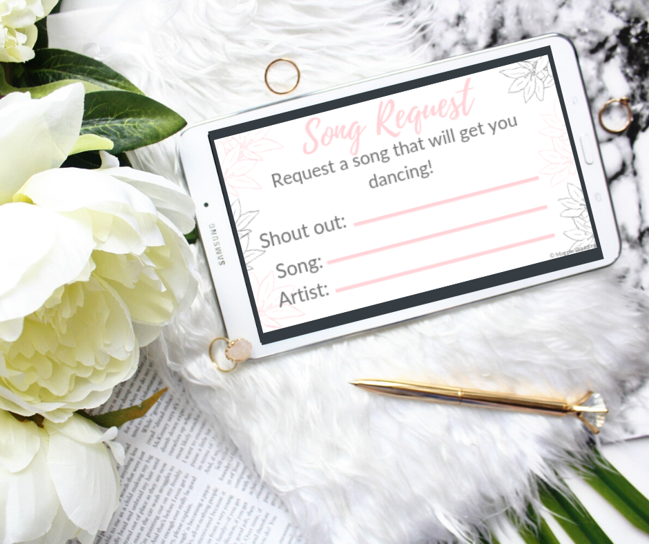 Magpie Wedding's new printable, song request cards in the pink and grey floral style.