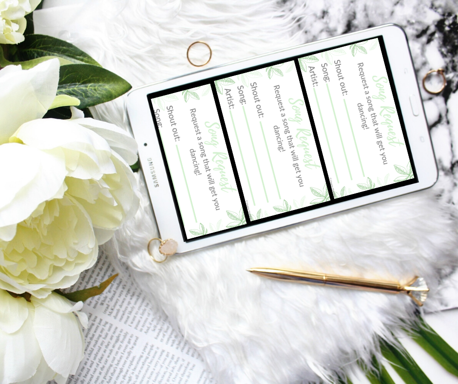 Magpie wedding's sage green leafy styled song request card being viewed on a tablet