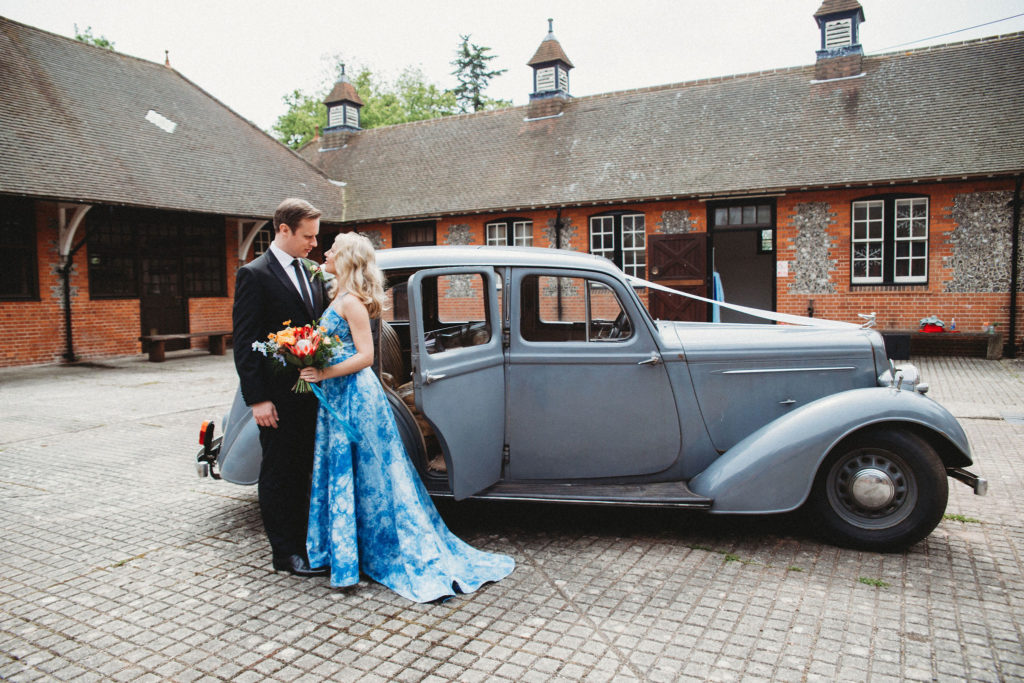 Classic Moviestar Eco-Friendly Wedding With A Blue Wedding Dress