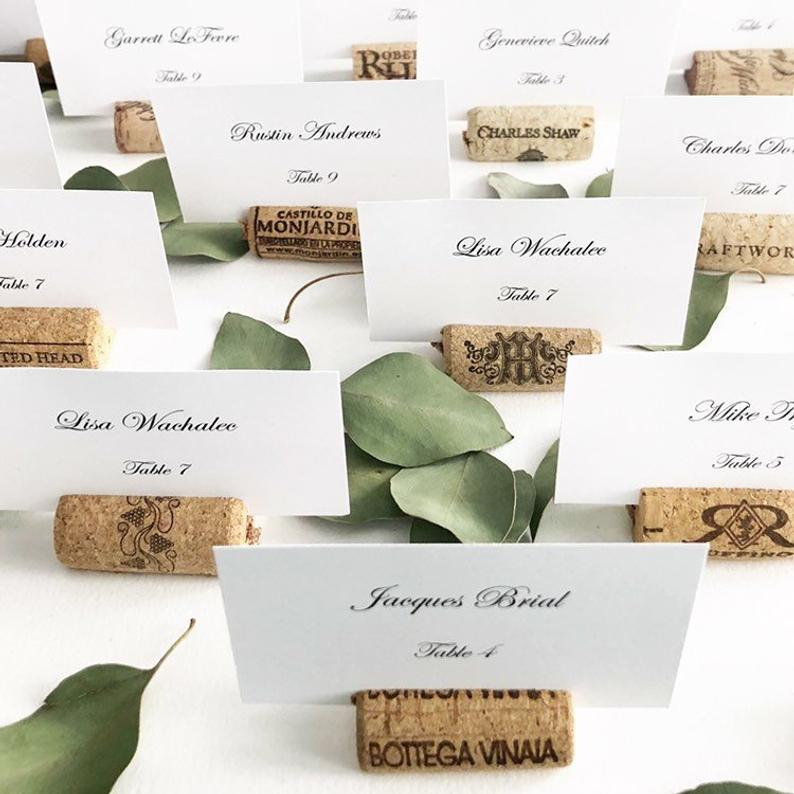 Wooden Recycled Wine Cork Place Card Holders