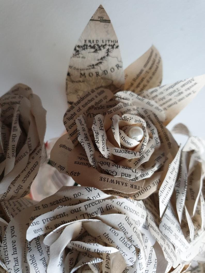 Book Themed Paper Flowers Bouquet