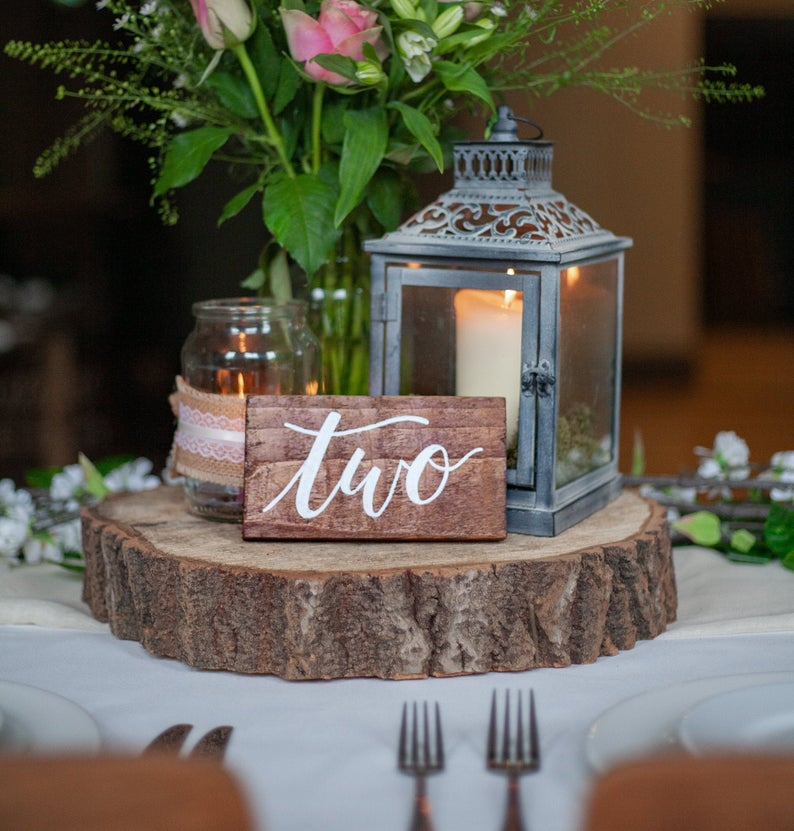 Rustic Recycled Wooden Wedding Table Number