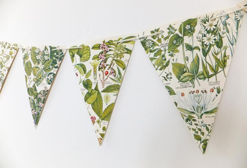 Eco-Friendly Recycled Green Botanical Bunting