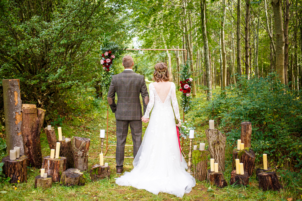 Woodland Wedding in The Cotswolds with Winter Red Styling and a Dog