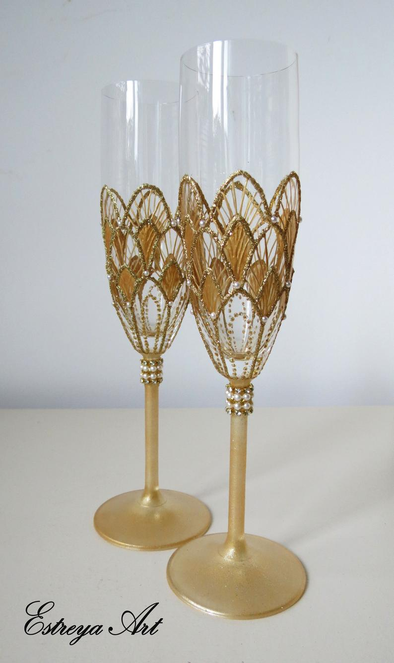 Couple's Hand Painted Glasses In A Glam 1920's Style