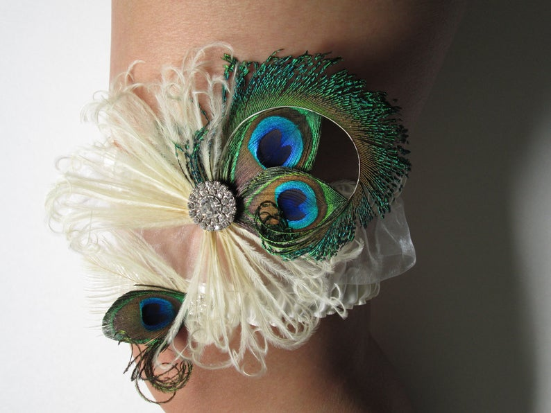 1920s Vintage Wedding Peacock Wedding Garter Set