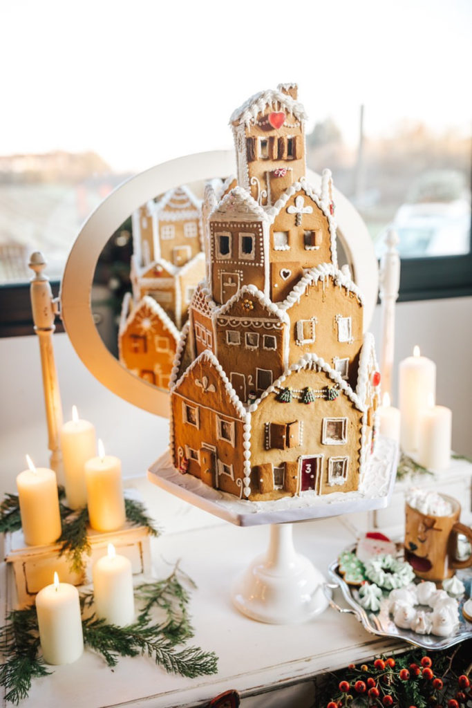 Ideas for styling your Christmas wedding with a ginger bread house
