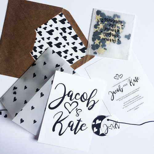 Monochrome heart wedding stationery
