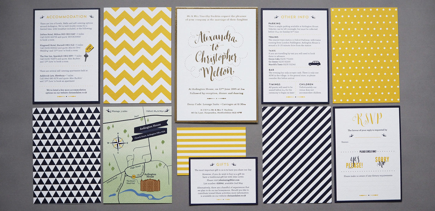 Bright and bold geometric stationery
