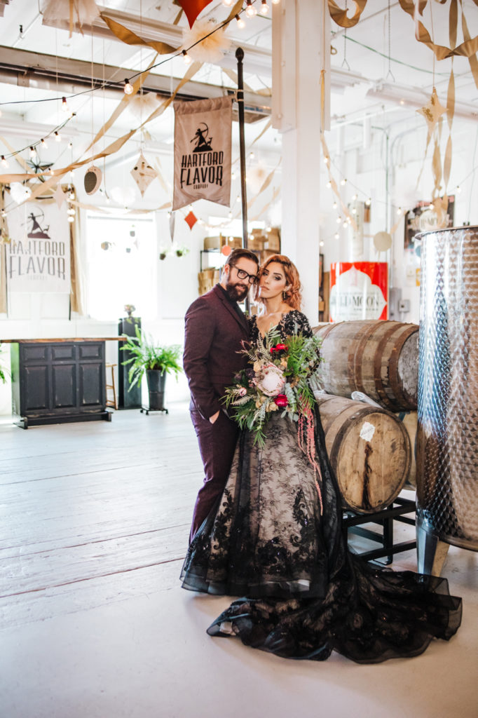 Dark Urban Wedding With Burgundy Styling and A Black Wedding Dress