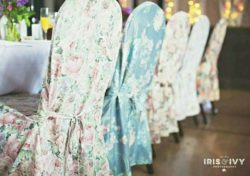 Vintage floral wedding chair covers