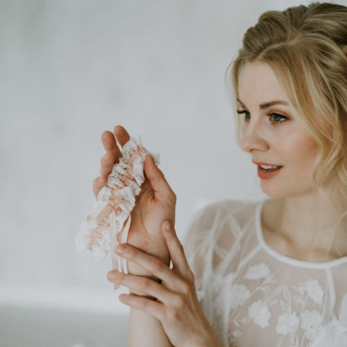 Blush Nottingham Lace Garter with Pure Silk Ribbon Bow