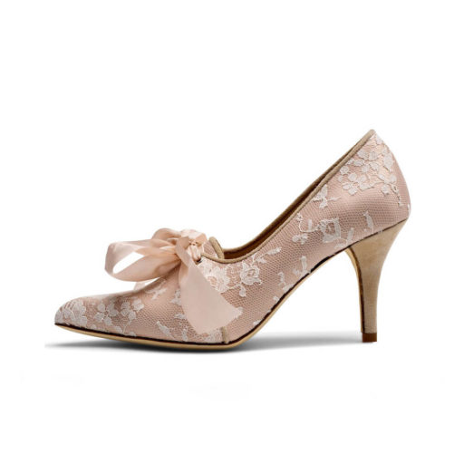 Blush Satin Tie Front Wedding Shoe - Rocco
