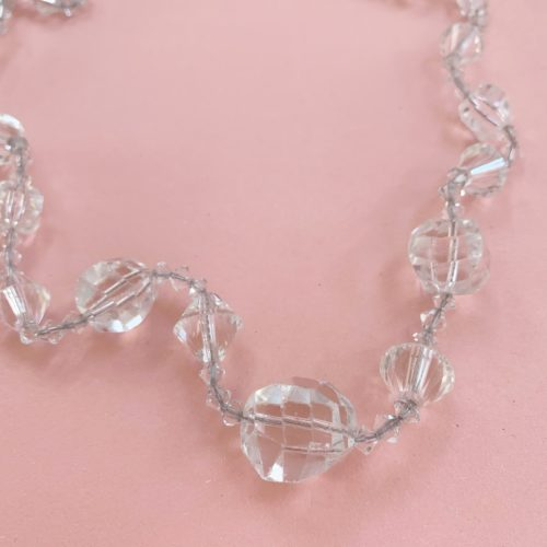Long Clear Glass 1920s Beaded Vintage Necklace
