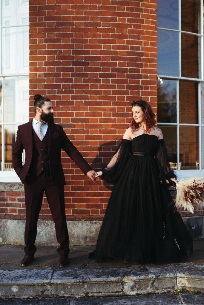 Modern Gothic Wedding With A Black Dress at Bradbourne House Kent