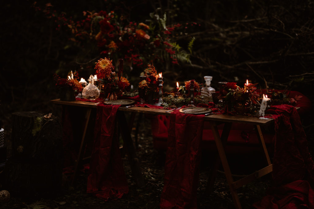 Dark Romantic Outdoor Wedding Inspiration at Upthorpe Wood, Suffolk