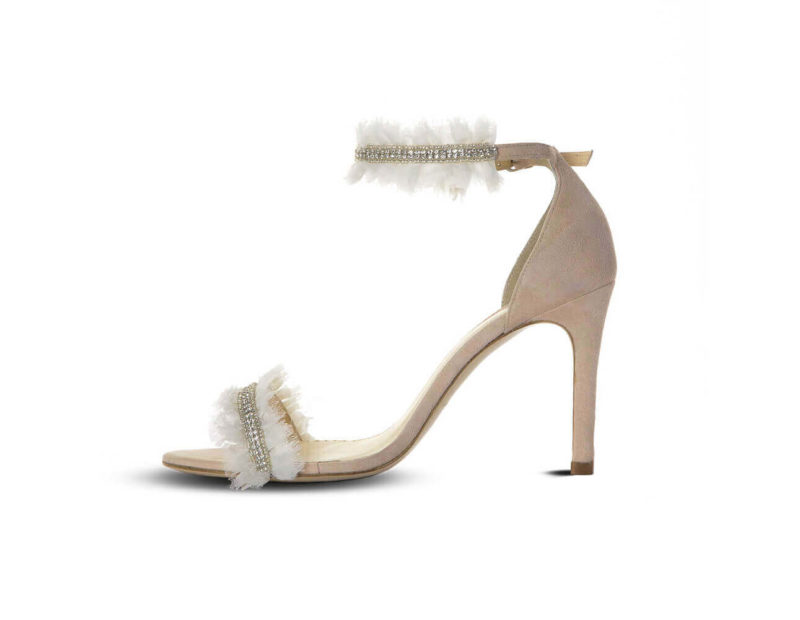 Pleated Ivory Organza Wedding Shoe - Amarine