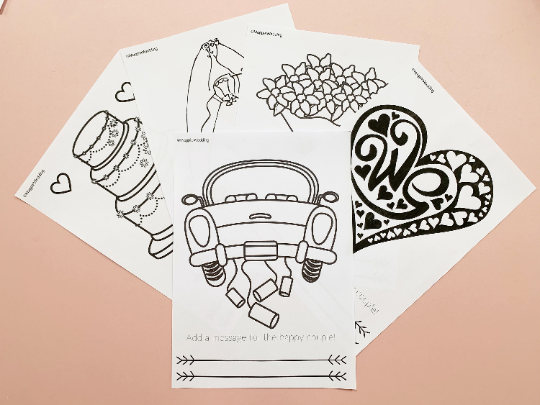 6 Page Wedding Kids Colouring In & Activity Games Pack Download
