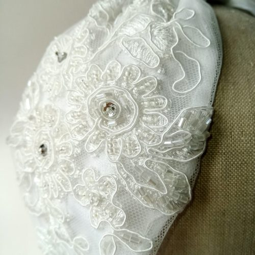 White lace turban wedding headband made with beaded bridal fabric