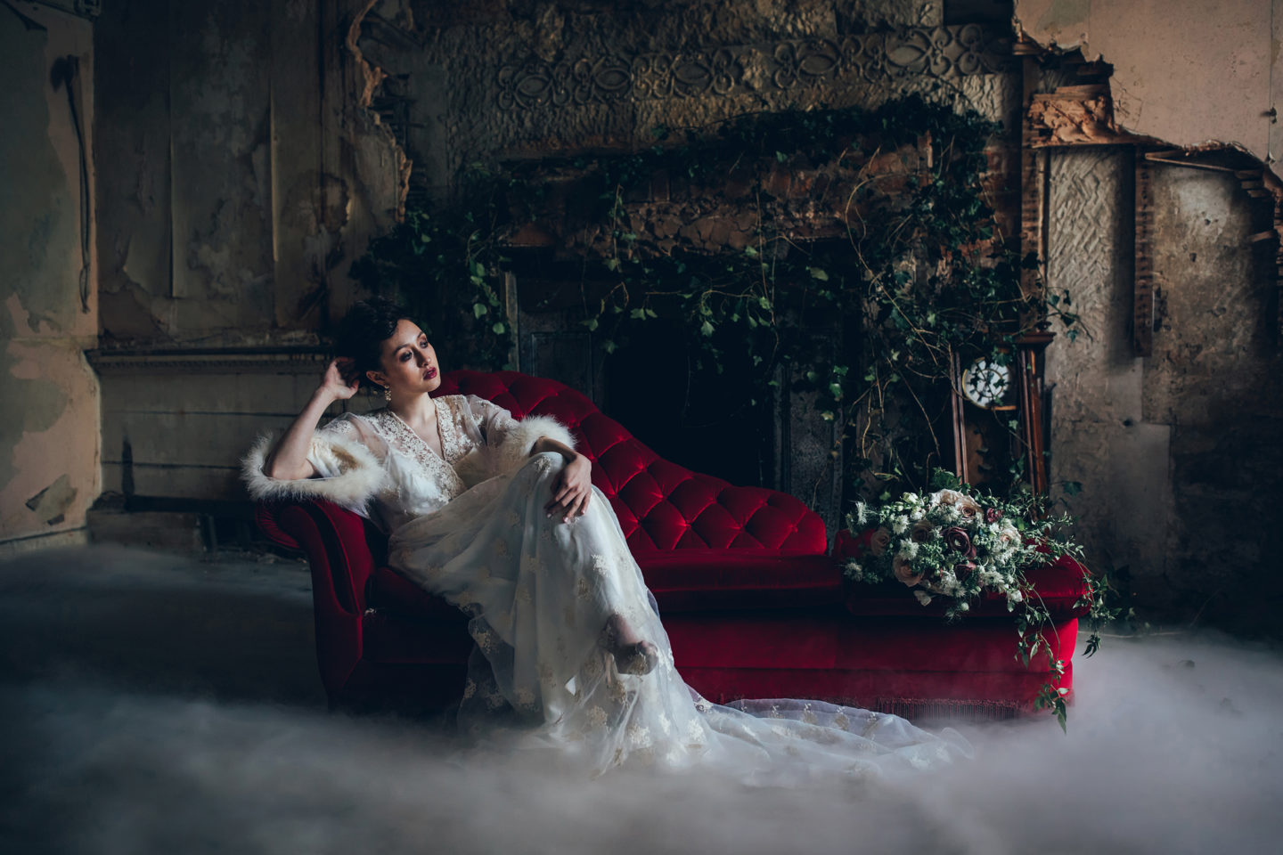 Modern Golden Age Glamour Wedding Dress Inspiration at Poltimore House