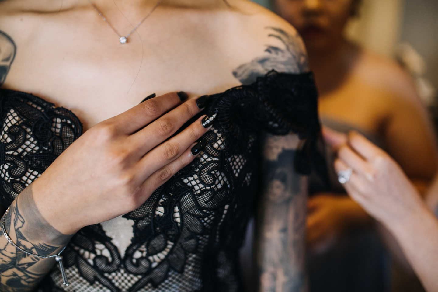 Romantic Goth Wedding With Black Wedding Dress at Villa Capri Sydney