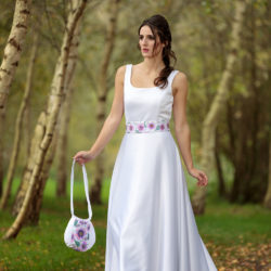 Aylin White Designs - Hand painted Clematis gown, with a hand painted Clematis bag.