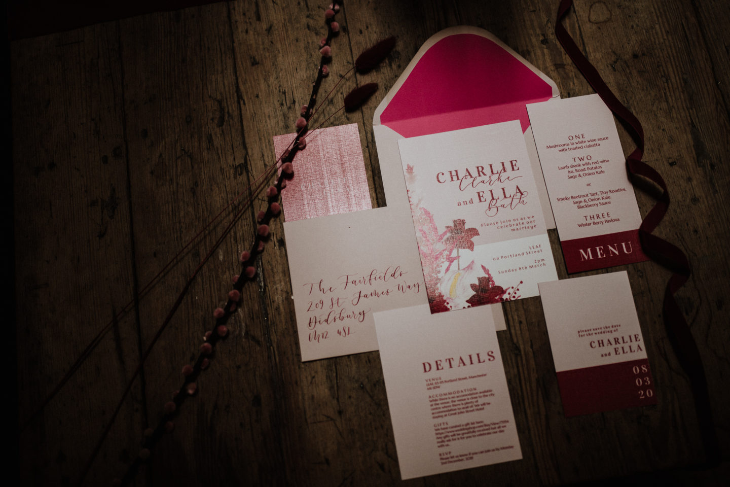 Bold Red and Pink Urban Wedding at LEAF Manchester