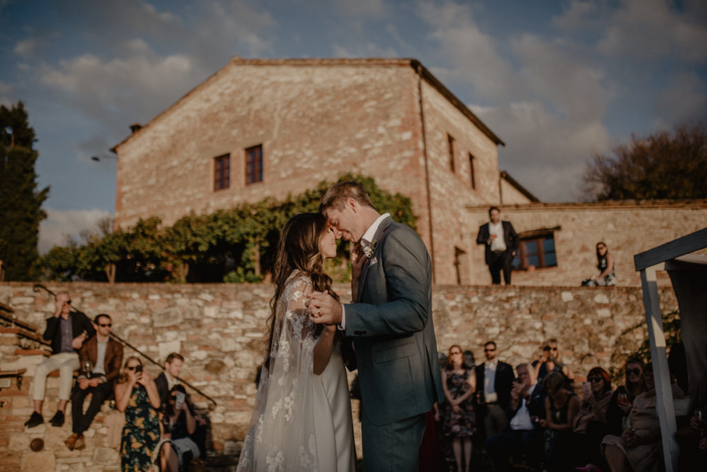 Dreamy Italian Elopement With Lace Wedding Cape at The Lazy Olive, Tuscany