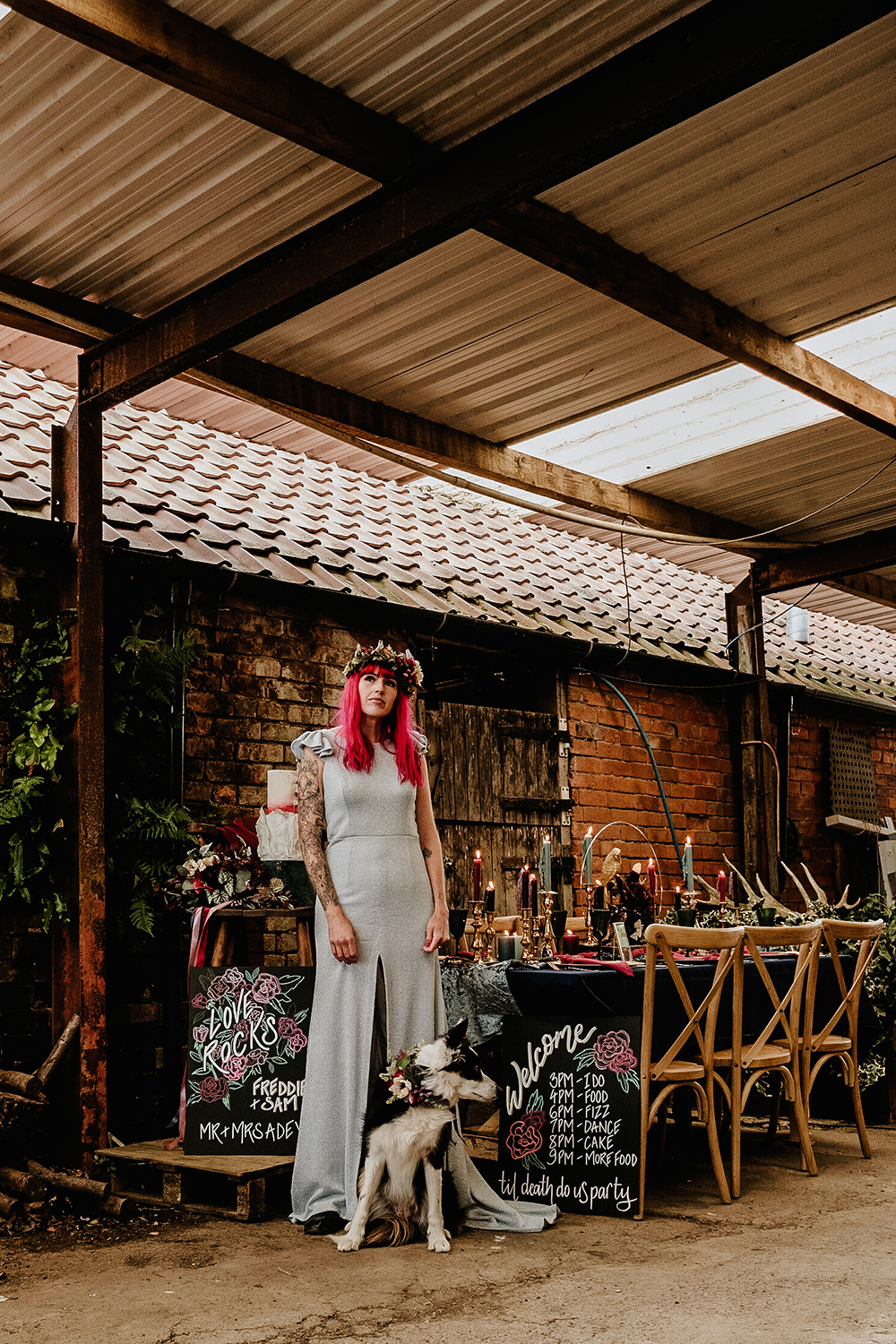 Alternative Rock Wedding Inspiration With Tattooed Bride and Bespoke Wedding Dress