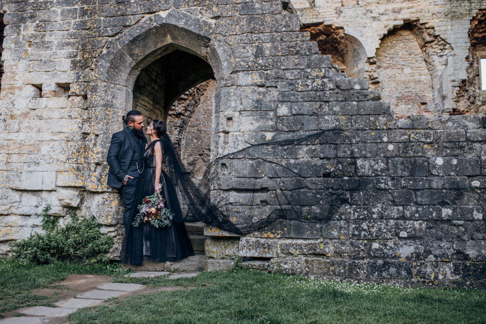 Magical Maleficent Wedding With Black Wedding Dress at Nunney Castle, Somerset