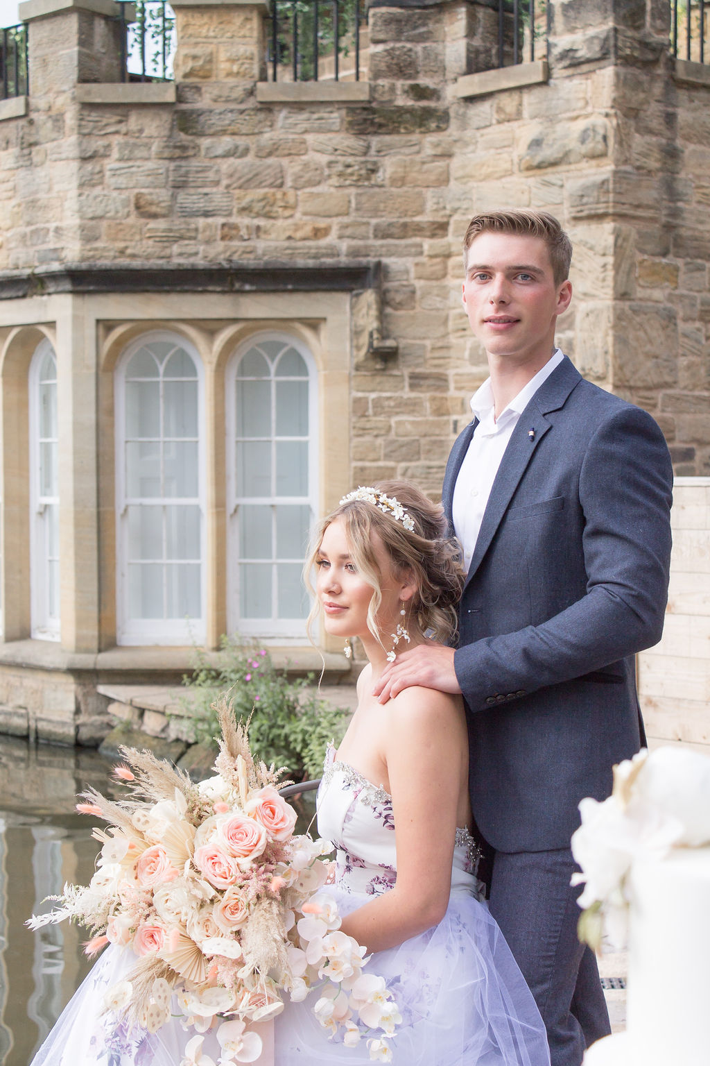 Dreamy Blush Wedding With Bespoke Floral Dress at Newmillerdam Yorkshire