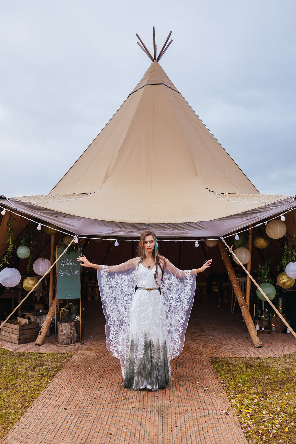 Intimate Forest Wedding At Meadow Vale With Bespoke Ombre Wedding Dress