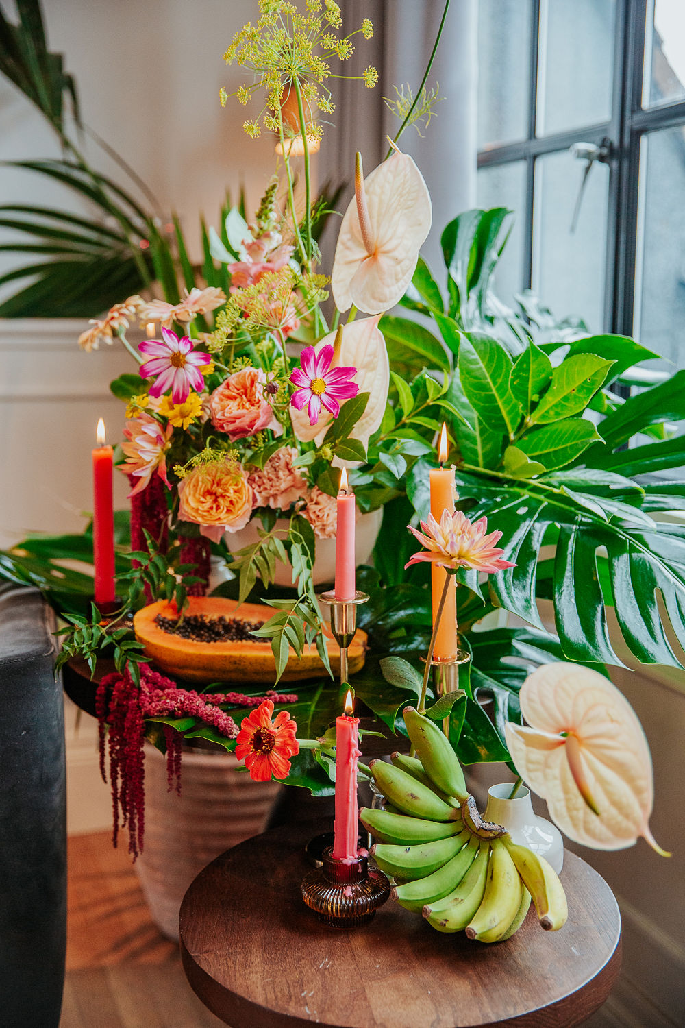 Tropical City Wedding Inspiration At Mortimer House With Short Yellow Wedding Dress