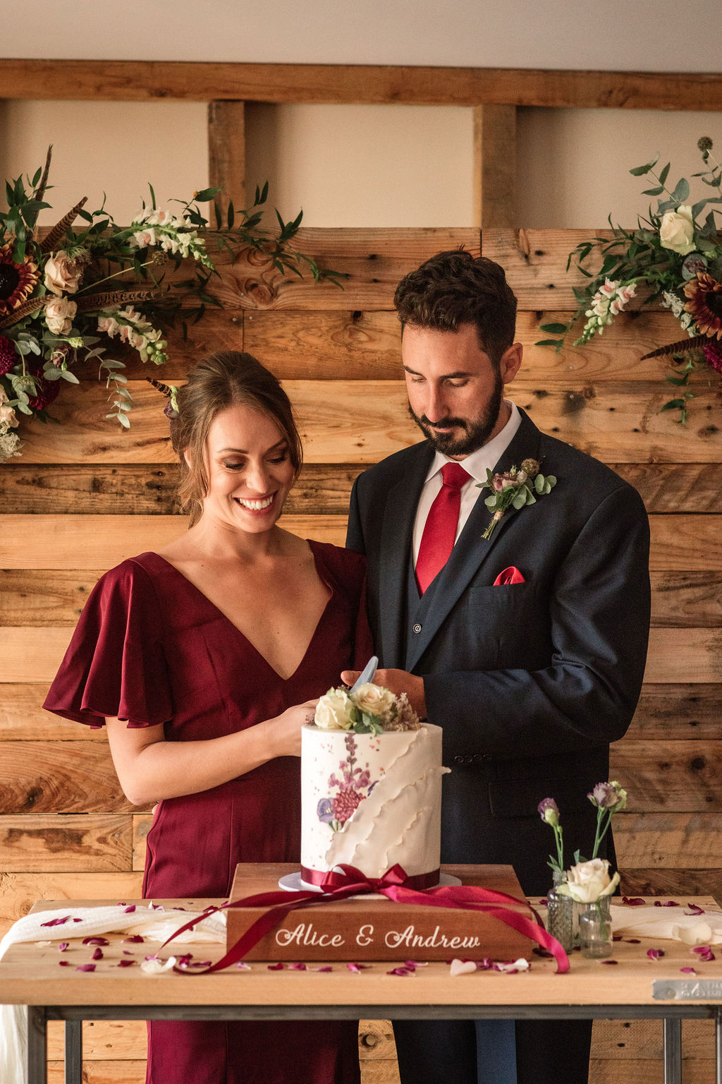 Rustic Boho Wedding with Coloured Wedding Dress at Bunkers Barn