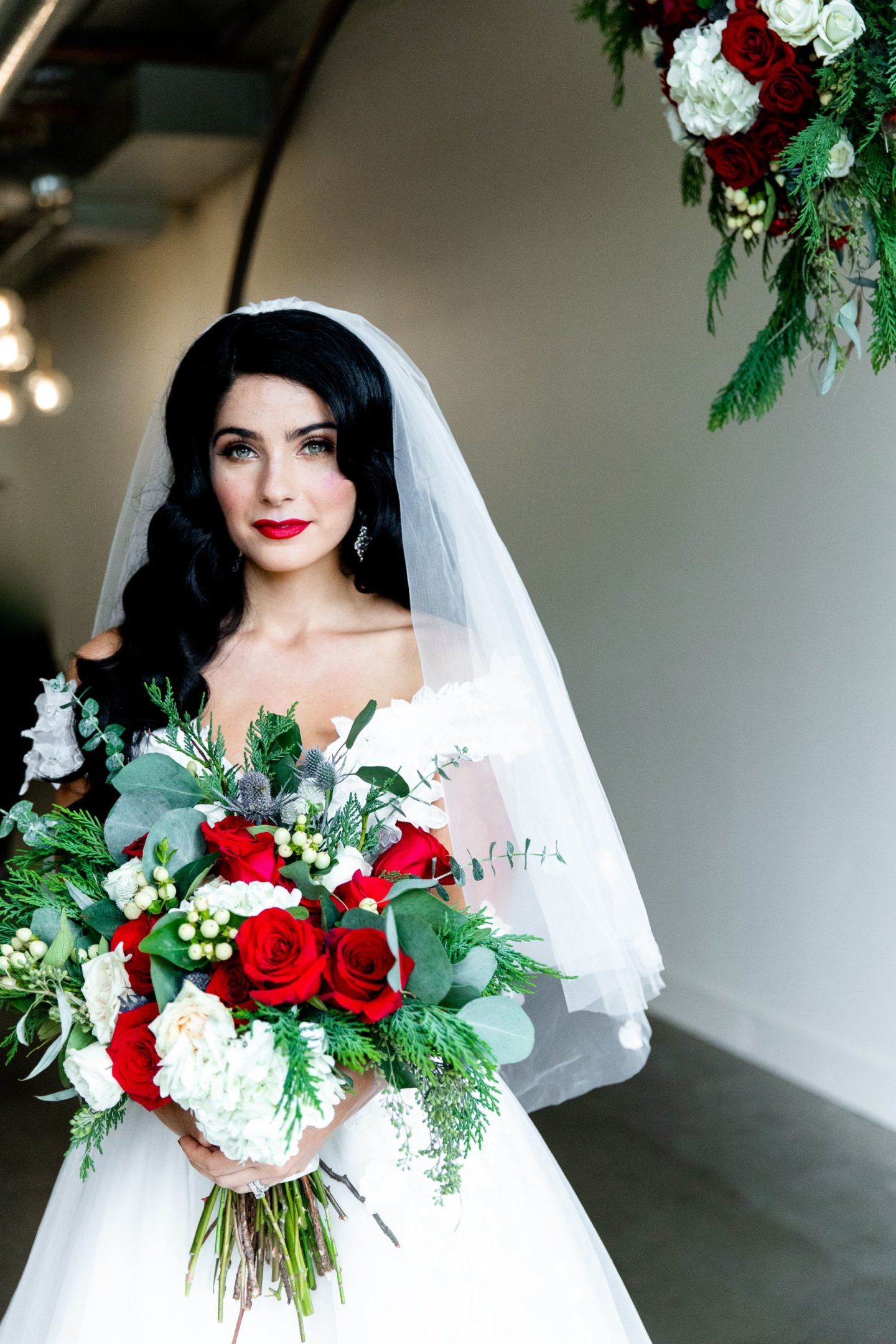 Retro Christmas Wedding With Red and Green Styling at Pop Up Shot Club, USA