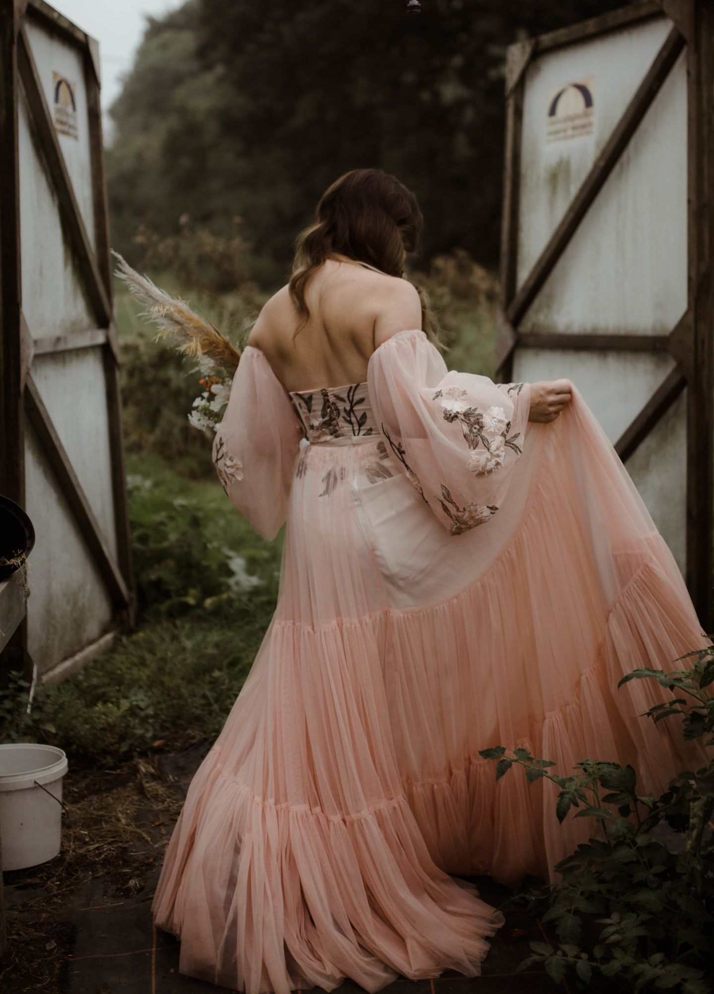 Micro Wedding With Pink Floral Wedding Dress At Manor Farm, Bristol