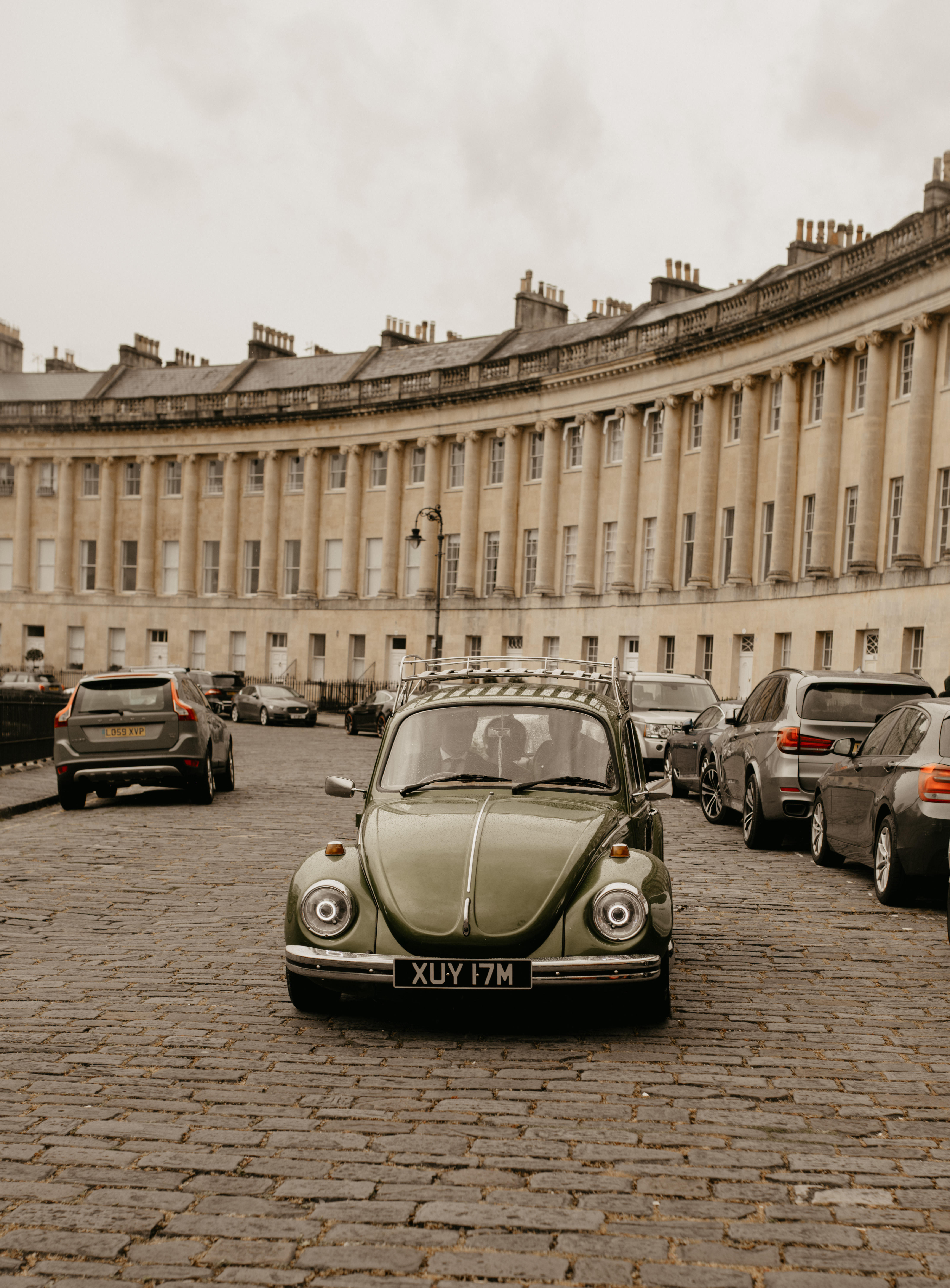 City Elopement With Bridal Jumpsuit and Vintage Wedding Car In Guildhall, Bath