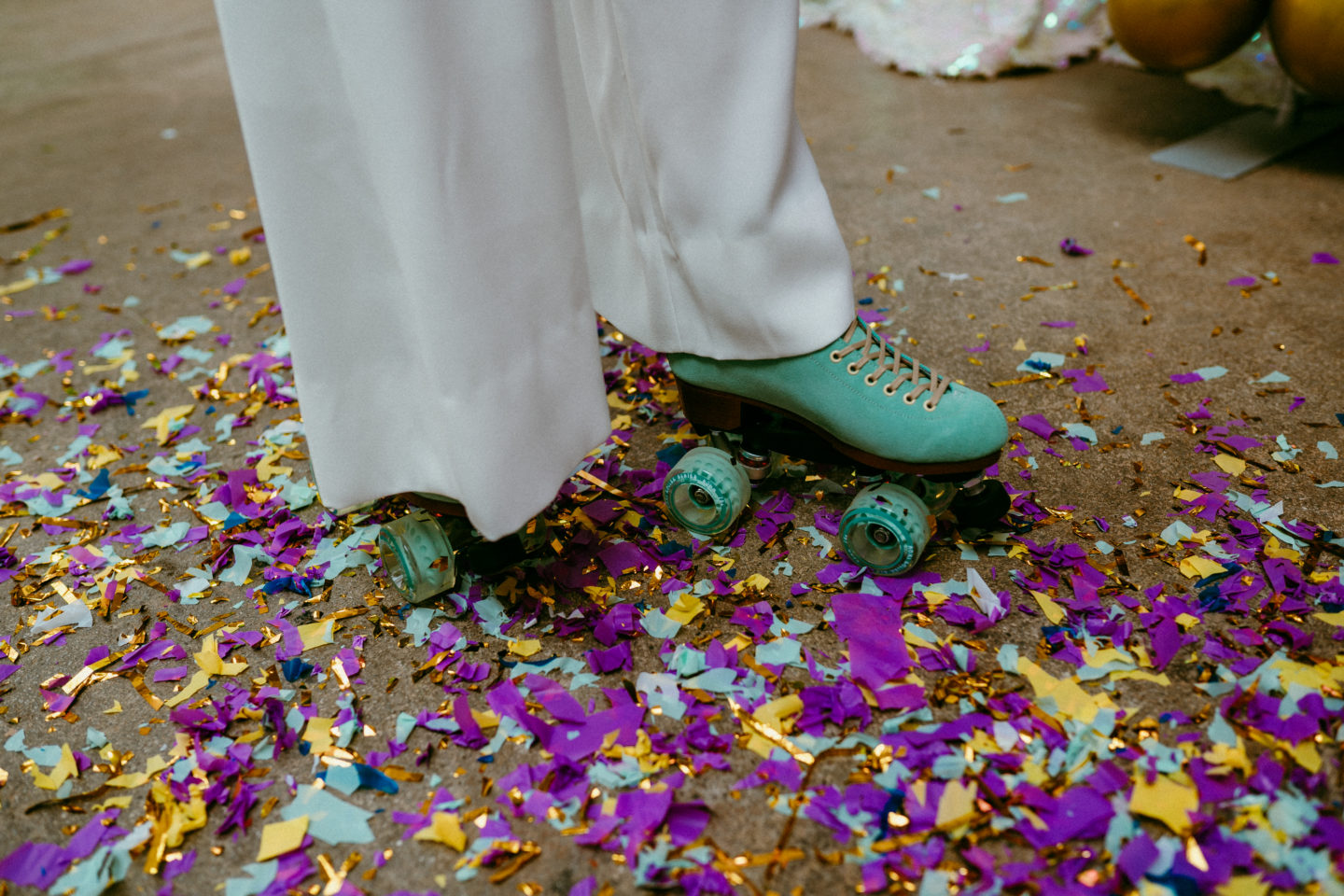 Rollerblade Disco Wedding With Bridal Jumpsuit at Silk Mill Studios, Somerset
